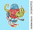 robot slug - stock vector