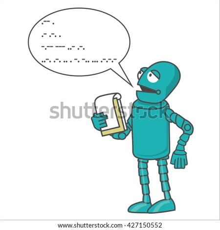 """robot speaks Morse """"We - your friends Technical progress in the future, confidence in a public statement.. - stock vector"""