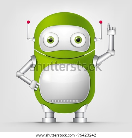 Robot TECHO on Grey Background. Vector. - stock vector