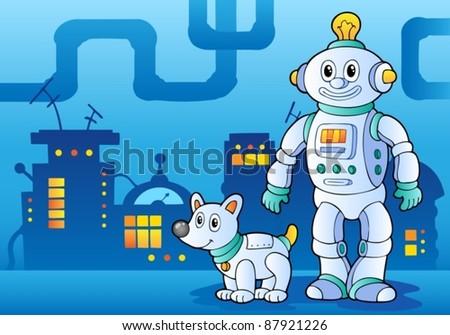 Robot theme image 4 - vector illustration. - stock vector