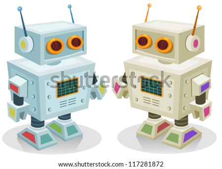 Robot Toy For Children/ Illustration of a couple of cute tiny cartoon robot toy characters in two colors, for children play, christmas or birthday present - stock vector
