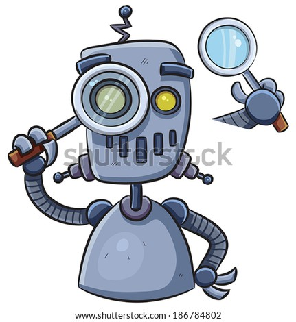 Robot Using Magnifier - stock vector