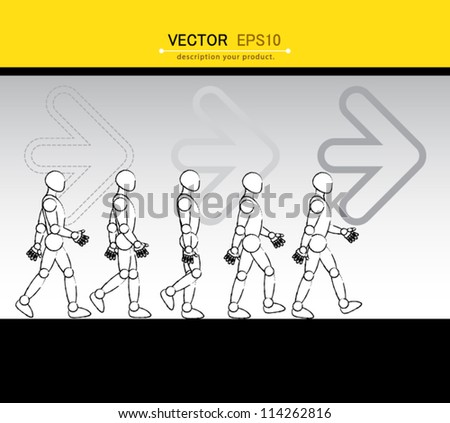 Robot walk circle, can use for business concept, education diagram, brochure object. - stock vector