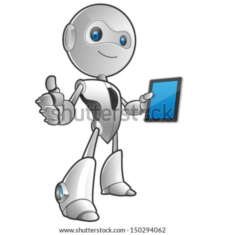 robot with a tablet