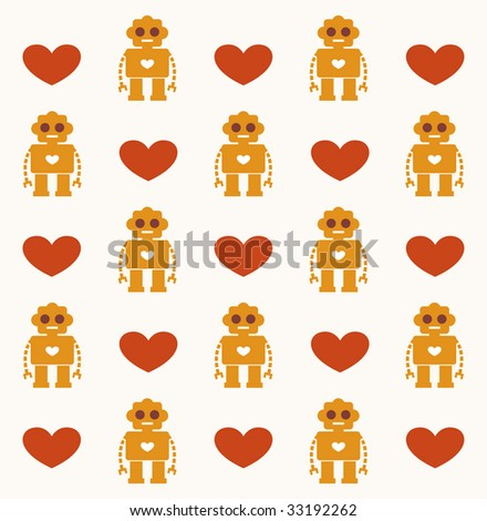 robot with heart card background design - stock vector