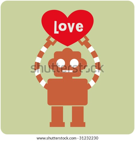 robot with heart card design - stock vector