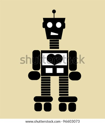 robot with heart on roller skates - stock vector