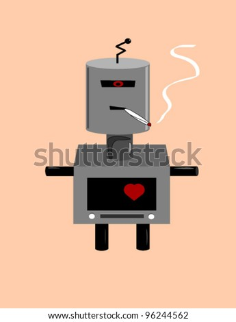 robot with heart smoking medical marijuana cigarette illustration - stock vector