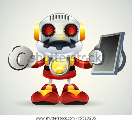 Robot with tubble, Illustrator Vector - stock vector