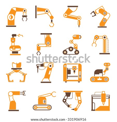 robotic arm manufacture technology, robot in production line - stock vector