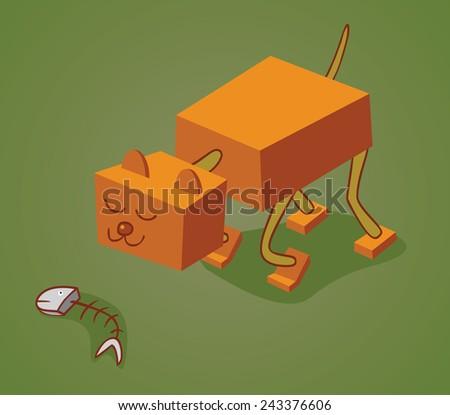 robotic cat two - stock vector