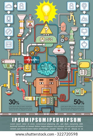 Robotic engineering put brain into robot stock vector 322720598 robotic engineering put the brain into a robot robot factory infographics charts symbols ccuart Gallery