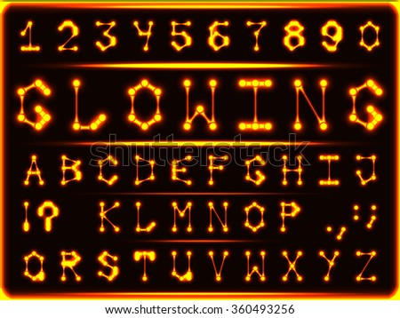 Robotic font-style hot glowing gold. The letters and numbers. - stock vector