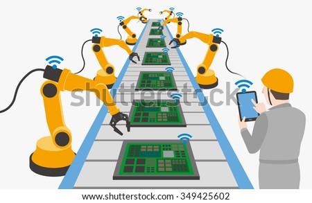 robotic hands and conveyor belt, controlled by engineer with Tablet PC, Factory automation, Industry 4.0, Internet of Things, vector illustration - stock vector