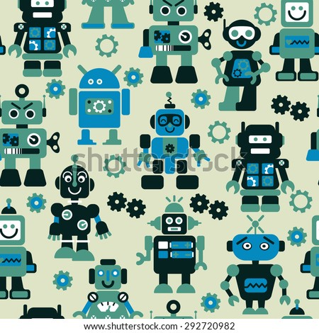 Robots color seamless pattern. - stock vector