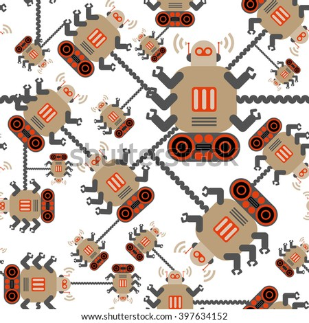 Robots color seamless pattern on white background. Orange and brown. - stock vector
