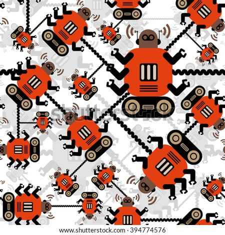 Robots color seamless pattern on white background. Orange brown robots. - stock vector