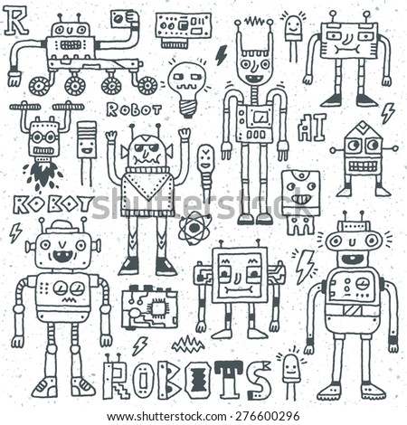 Robots,Electrical, Circuits, Microschemes.Cool and cute funny vector set 1. Hand drawn illustration. Monochrome pattern. - stock vector