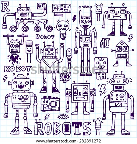Robots,Electrical, Circuits, Microschemes.Cool and cute funny vector set 1. Hand drawn illustration. School notebook. - stock vector