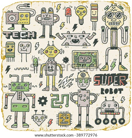 Robots,Electrical, Circuits, Microschemes.Cool and cute funny vector set 2. Vintage Texture. Vector Illustration. - stock vector