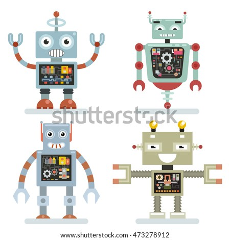Robots flat icons. Robots pictograms vector. Technology machine toy futuristic illustration
