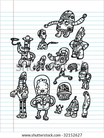 Robots Hand Drawn SET 2 - Vectors