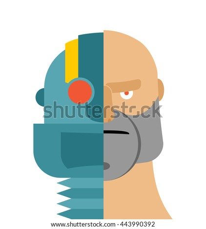 Robots head. cyborg and people. Iron person and man face. Cybernetic mechanism. Man of future - stock vector