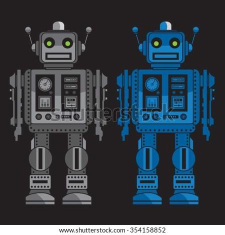 Robots illustration, t-shirt graphics, vectors, typography - stock vector