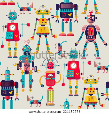 Robots of different shapes and multiple collors. Seamless background pattern. Vector illustration - stock vector