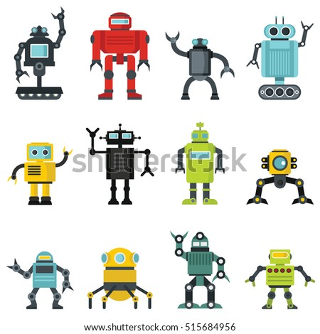Robots set in cartoon flat design. Vector illustration