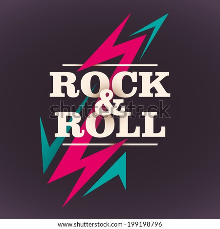 Rock and roll background design. Vector illustration. - stock vector