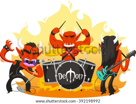 rock and roll band of demons cartoon illustration - stock vector
