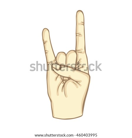 Rock roll hand gesture thumb