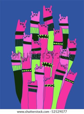 Rock and Roll hands cartoon vector - stock vector