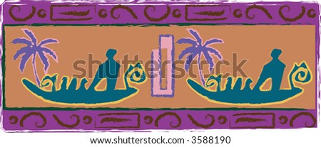 Rock-art carving style vector illustration showing ancient polynesian canoes. - stock vector