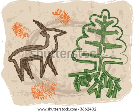 Rock-art style vector illustration with deer and tree. - stock vector