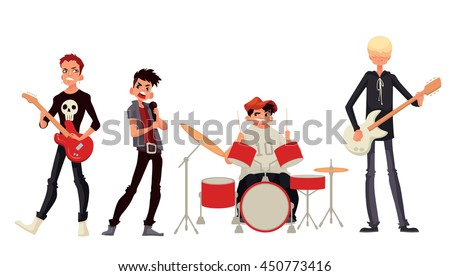 Rock band cartoon style vector illustration isolated on white background. Musicians - singer guitarist drummer solo guitarist bassist. Isolated vector rock band musicians - stock vector