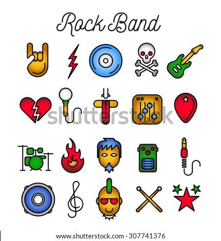 Rock Band Icon Set. Vector Illustration