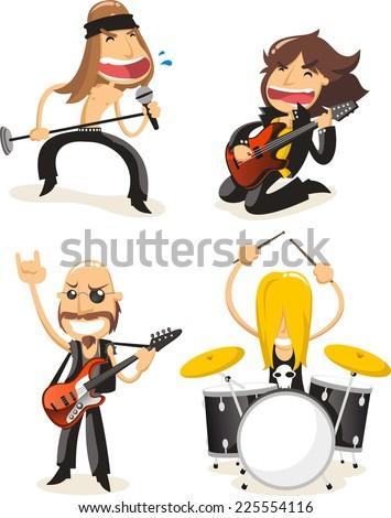 Rock band musicians cartoon - stock vector