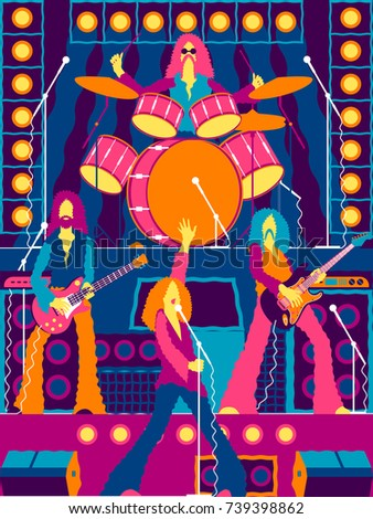 Rock band on stage rock concert stock vector 739398862 shutterstock rock concert festival rock party or xmas party invitation stopboris Images