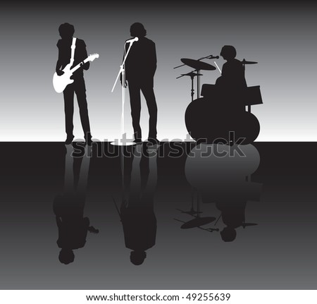 rock band silhouette - stock vector