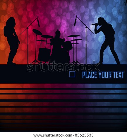 Rock band vector background with neon lights - stock vector