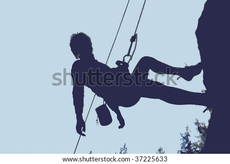 Rock climber rappelling - stock vector