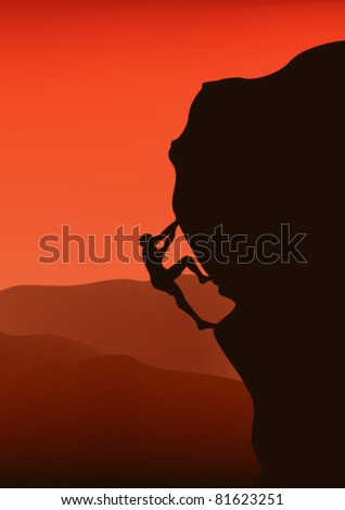 rock climber silhouette - vector illustration - stock vector