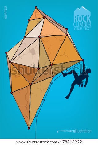Rock climber. Template for design poster - stock vector