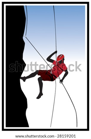 rock climbing - stock vector