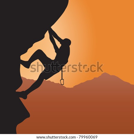 Rock climbing. Vector illustration - stock vector
