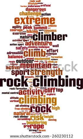 Rock climbing word cloud concept. Vector illustration - stock vector