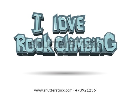 Rock Climbing words on the rock. Emblem of Rock climbing letters for bouldering, stone texture letters. Vector illustration