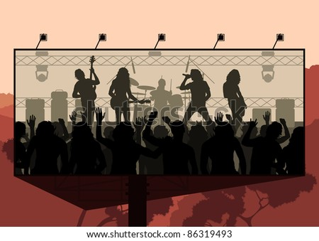 Rock concert advertisement background illustration - stock vector